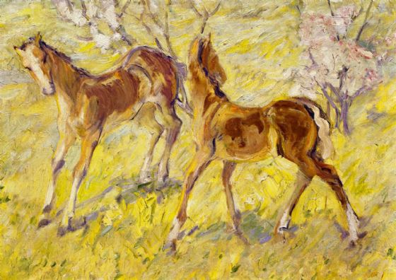 Marc, Franz: Jumping Foal. Fine Art Horses/Animal Print/Poster. Sizes: A4/A3/A2/A1 (00695)